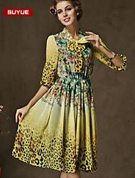 Suyue® High Quality Women's  Vintage   Bowknot Three-Quarter Sleeves Maxi Dress