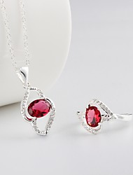 Plated Silver Fashion Women's Jewelry Sets Necklace and Rings