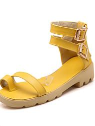Zapatos de mujer - Tacón Bajo - Comfort / Anillo Frontal - Sandalias - Oficina y Trabajo / Vestido - Semicuero -Negro / Azul / Amarillo /