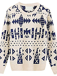 Men's New Geometric Pattern Jacquard Crewneck Sweater