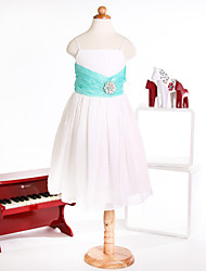 Flower Girl Dress Princess Spaghetti Straps  Ankle-Length Organza Dress