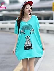 RanSheng Women's Print/Cute Micro-elastic Short Sleeve Above Knee Maternity Dress
