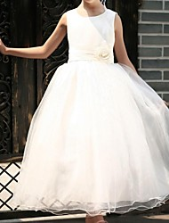 Ball Gown / Princess Ankle-length Flower Girl Dress - Satin / Tulle Sleeveless Scoop with