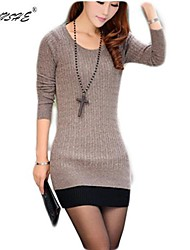 Women's Solid Blue/Pink/Red/White/Black/Purple/Beige/Gray Dress , Sexy/Bodycon/Casual/Cute/Plus Sizes/Vintage Crew Neck/Round NeckLong