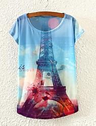 Women's Eiffel Tower Print Short Sleeve T-shirts