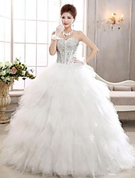 Vestido de Noiva Trapézio Coração Comprido Tule
