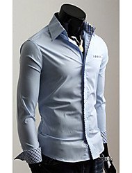 White Men's Fashion Korean Slim Long Sleeve Shirt