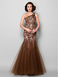 Lanting Trumpet/Mermaid Plus Sizes / Petite Mother of the Bride Dress - Brown Floor-length Sleeveless Satin / Tulle
