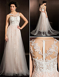Lanting Bride® A-line Petite / Plus Sizes Wedding Dress Court Train Jewel Lace / Tulle with