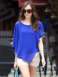 Women's White/Black/Blue Casual Chiffon Blouse, Short Sleeve