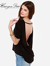 Haoyouduo Women's Sexy Backless Knitting Loose T Shirt