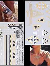 2PCS New Gold Necklace Bracelet Alphabet Tattoos Temporary Tattoos Sticker Cuticle Tattoos Flash Tattoos