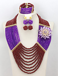 Graceful African Beads Wedding Necklace Set Bridal Jewelry Crystal Beads Party Jewelry Set AC076