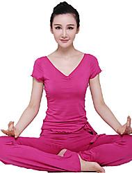 manga corta roja de la yoga juego de la aptitud