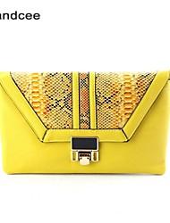 Handcee® Women Casual PU Button Handbag/ Snake Patten Corssbody Bag
