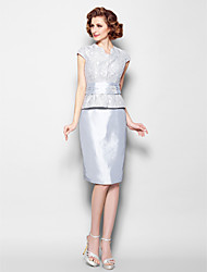 Sheath/Column Mother of the Bride Dress - Silver Knee-length Short Sleeve Lace/Taffeta