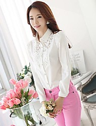 Women's CasualLace Micro-elastic Long Sleeve Regular Blouse (LacePolyester)