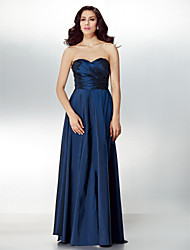 Formal Evening Dress - Dark Navy Petite A-line Sweetheart Floor-length Taffeta