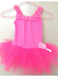Newest in stock Girls Kids Hot Pink Pearl Flower Leotard Party skirt Ballet Tutu Skate Dancewear SZ2-7Y