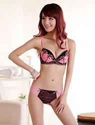 Cotton/Lace Sexy Embroidery Deep V Push-Up/3/4 Cup Bra Set(More Colors)