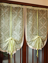 """One Panel 34""""W*46""""L(88cmW*118cmL)Floral / Botanical Green Embroidered Translucidus Polyester Sheer"""