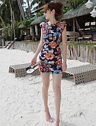 Women's Round Flower Dresses , Cotton Blend Bodycon/Beach/Print Sleeveless RIVA