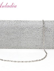 Anladia Shimmering Diamante Womens Ladies Satin Bridal Wedding Clutch Purse Prom Party