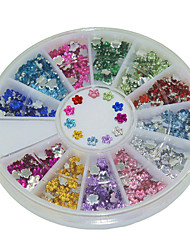 600Pcs 12 Color Plum Blossom Shape Acrylic Diamond Nail Art  Decoration kits