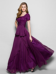 A-line Mother of the Bride Dress - Grape Floor-length Short Sleeve Chiffon/Lace