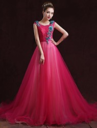Formal Evening Dress - Fuchsia A-line Bateau Floor-length Satin
