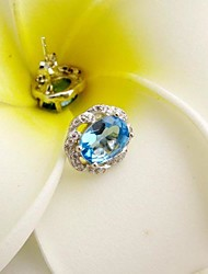 925 silver Topaz Earrings Natural Gemstone Stud Earrings
