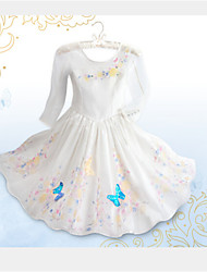 Girl's Summer Inelastic Cinderella Princess Dress Thin Long Sleeve Dresses (Organza)