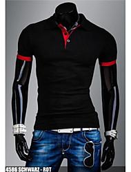 toevallige pure korte mouwen slanke t-shirts voor mannen (katoen)