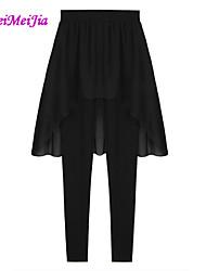 Delgado - Eslático - Ajustado - Pantalones de las mujeres (Gasa/Algodón)