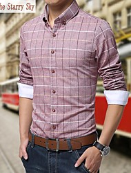 Men's Long Sleeve Shirt , Cotton Formal Plaids & Checks