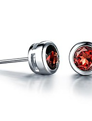 925 sterling silver earrings for women naturalgarnet(1 pair)