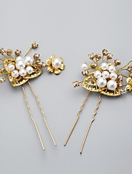 Women/Flower Girl Alloy/Imitation Pearl Hairpins With Wedding/Party Headpiece(2 Pieces)