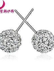 925 Sterling Silver Ball Stud Earrings Shambhala drill E779