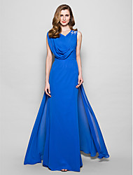 LAN TING BRIDE A-line Plus Size Petite Mother of the Bride Dress - Elegant Floor-length Sleeveless Chiffon withAppliques Beading Side