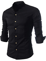 White Men's Fashion New Causal Stand Collar Long Sleeve Shirt