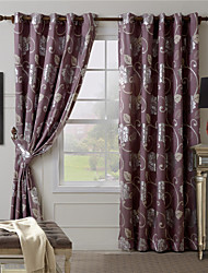 One Panel Red Floral Jacquard Curtain