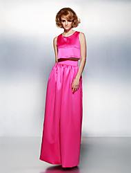 Homecoming Formal Evening Dress - Fuchsia Sheath/Column Jewel Floor-length Satin