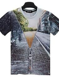 T-Shirts ( Multi-color , Baumwolle ) - für Freizeit/Sport - für MEN - Bedruckt - Kurzarm