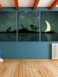 e-Home® Stern Meniskus dekorative Leinwanddruck mit LED-Leuchten-Set 3
