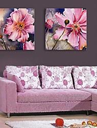 e-FOYER toile tendue fleur d'art peinture décorative ensemble de deux