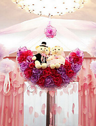 "22"" Modern Style Red Purple Simulation Flower Ball with Toy Bear Silk Cloth Decorative Flower Ball"