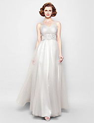 A-line Plus Sizes / Petite Mother of the Bride Dress - Silver Floor-length Sleeveless Tulle