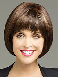 European and American New Polyester Dyed Brown Short Hair Wig Liu Qi