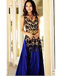 vestidos de color de contraste leopardo cuello en v de las mujeres (más colores)