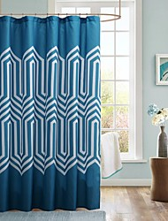 Shower Curtain Modern Blue Print Water-resistan
